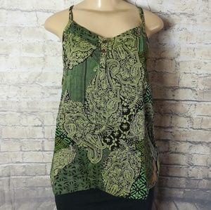 Banana republic green paisley sleeveless cami top
